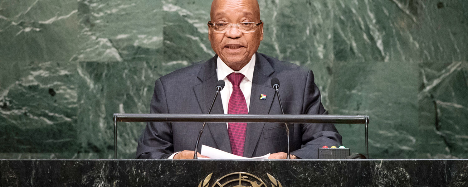 South African President H.E. Jacob Zuma addresses the United Nations General Assembly